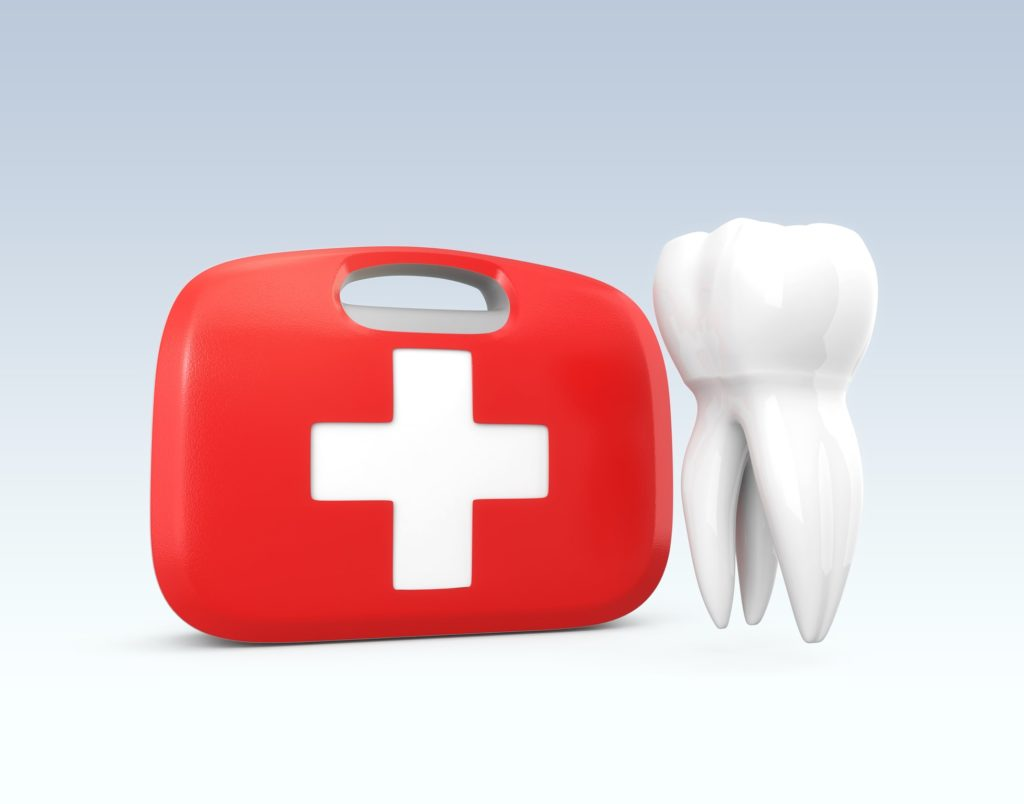 Red first aid bag with tooth